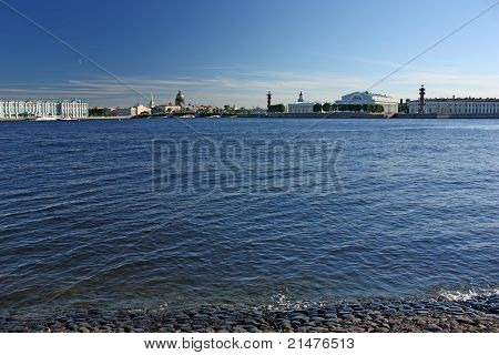 Saint-petersburg. View Of The Palace Quay, Old Stock Exchange And Rostral Columns