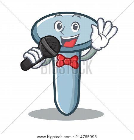 Singing nail character cartoon style vector illustration