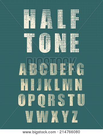 Vector Alphabet Set. Half tone style font. Grunge texture effect