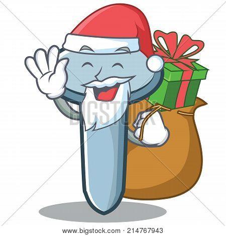 Santa with gift nail character cartoon style vector illustration