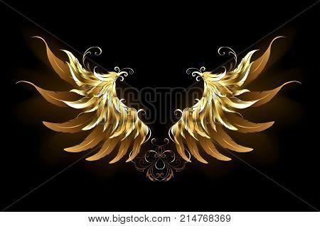 Shiny golden angel wings on a dark background. Golden wings.