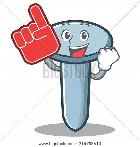 Foam finger nail character cartoon style vector illustration