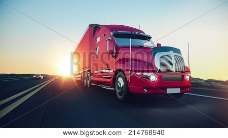 The truck runs on the highway.3d render and illustration.