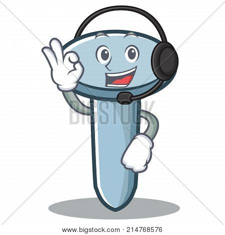 With headphone nail character cartoon style vector illustration