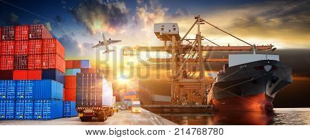Logistics and transportation of Container Cargo ship and Cargo plane with working crane bridge in shipyard at sunrise logistic import export and transport industry background