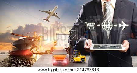 Smart technology concept with global logistics partnership Industrial Container Cargo freight ship for Logistic Import Export concept internet of things Concept of fast or instant shipping Online goods orders worldwide