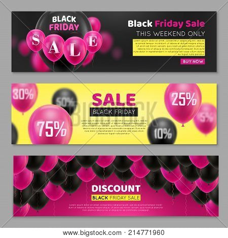 Black Friday banner with balloon. Three invitations for great seasonal sale, horizontal. Black air gasbag with percentage sign on ticket. Advertising banner on pink, black and white background