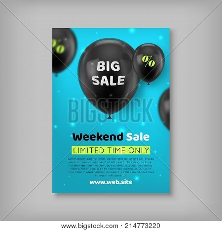 Banner inscription big sale. Notification of a weekly sale, limited in time offer. Vector illustration, black balls on a blue background. Information about discounts, favorable offers poster
