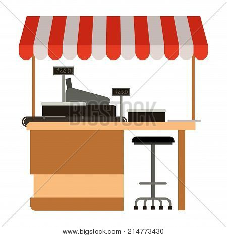 supermarket shelf with weighing machine and cash register point with sunshade colorful vector illustration