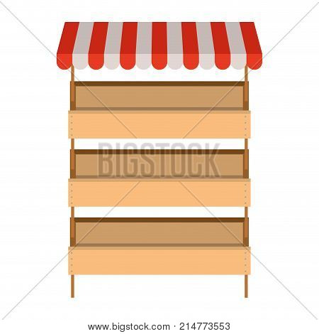 supermarket shelves with big storage with three levels and colorful sunshade vector illustration