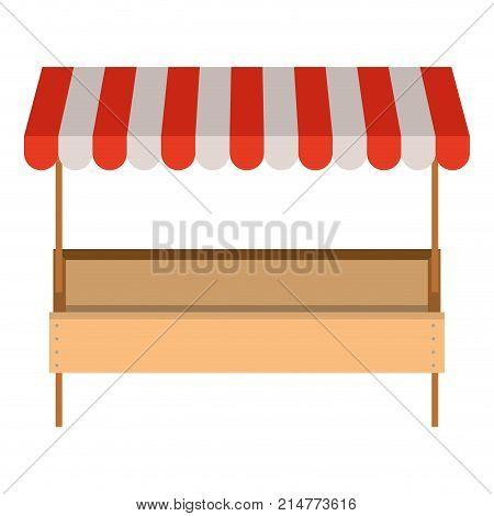 supermarket shelf with big storage of one level and colorful sunshade vector illustration