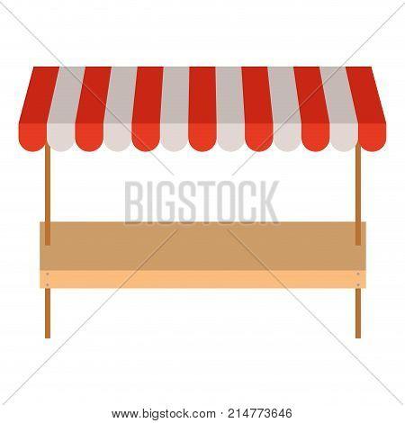 supermarket shelf of one level and colorful sunshade vector illustration