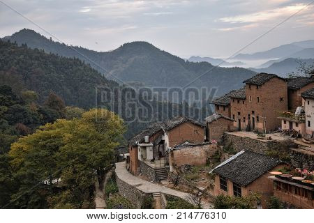 The Yangchan tulou, the chinese rural earthen dwelling in Anhui province in China. poster
