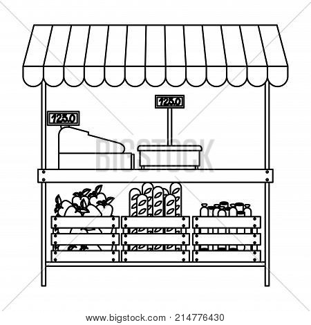 supermarket shelf with weighing machine and cash register and sunshade with foods in monochrome silhouette vector illustration