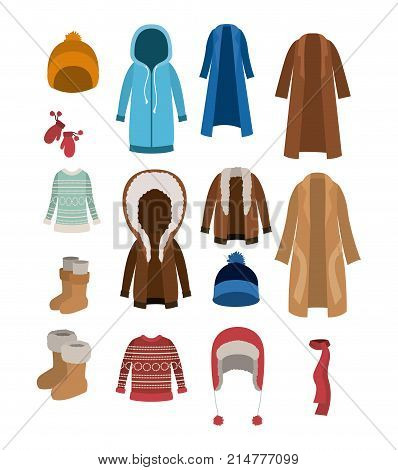 winter clothes set with coats sweaters wool cap boots scarf jackets and gloves over white background vector illustration