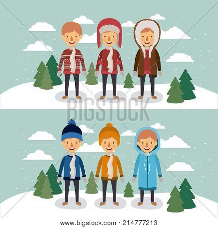winter people with two scenes of men with coats and winter clothes in landscape with snow and pine trees in colorful silhouette vector illustration