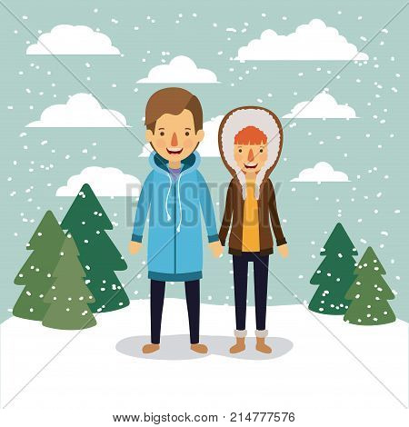 winter people background with couple in colorful landscape with pine trees and snow falling and him with coat and her with hooded coat vector illustration