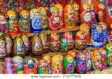 Sale of traditional Russian souvenirs