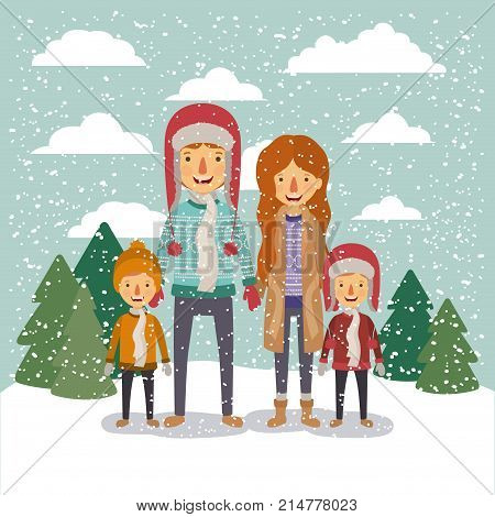 winter people background with family in colorful landscape with pine trees and snow falling and father and sons with sweater and cap of wool and mother with fur coat vector illustration