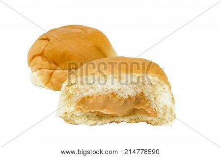 Thai egg custard bread isolated on white background clipping path included.
