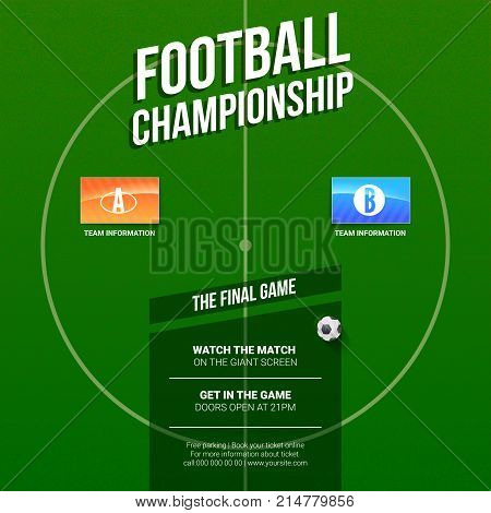 European football, soccer ad. Template for game tournament. Top view of Green soccer field with flags of participating teams. Poster for sports events. 3D illustration, ready for print design