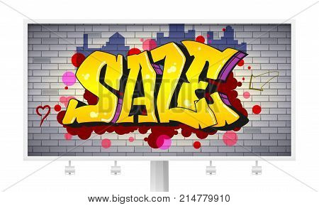Sale, lettering in hip-hop, graffiti style. Urban ad horizontal billboard. Street art on the brick wall. Advertising poster about discounts. Stylish design of banner with your offer. 3D illustration.