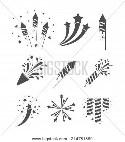 rockets and fireworks bursting set in grayscale silhouette over white background vector illustration