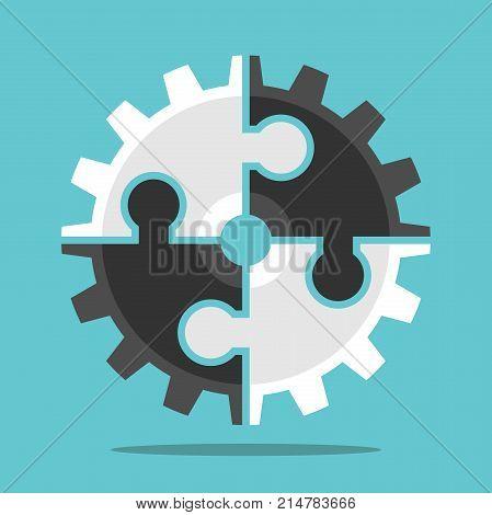 Puzzle Cog, Teamwork Concept