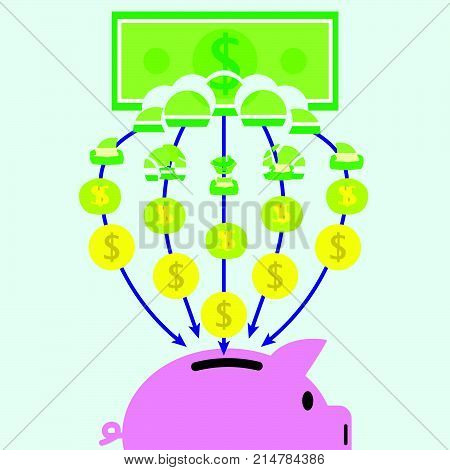 Vector Illustration Of A Banknote Is Slowly Transforming Into Coins Piece By Piece And Get In A Pink Piggy Bank On Light Blue Background Involving In Banking Saving Transferring And Investment