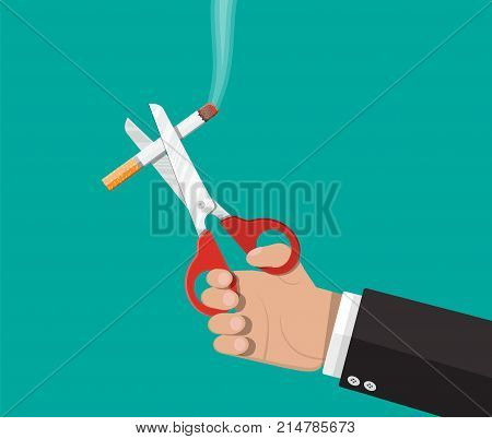 Tobacco abuse concept. Scissors in hand cut a cigarettes. No smoking. Rejection, proposal smoke. Vector illustration in flat style.
