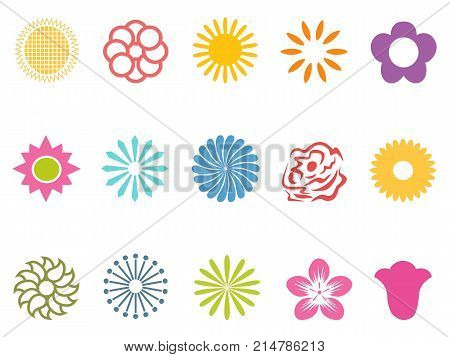 isolated color flower icons set on white background