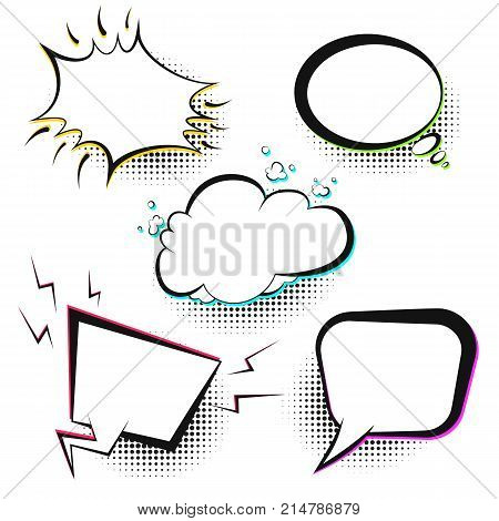 Set of white vector retro comic speech bubbles with color shadow on halftone background in pop art style. Black outline blank balloons for comics book or advertising superhero text, web design