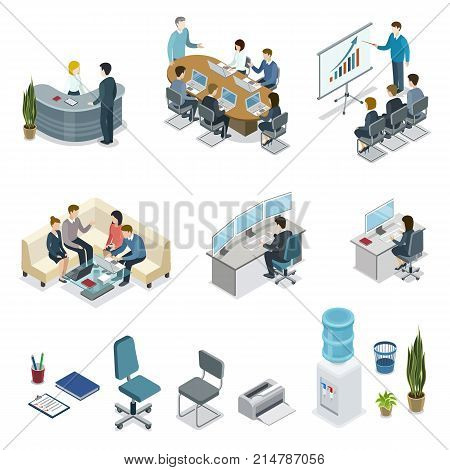 Corporate office life isometric 3D set. Teamwork and idea generation, business presentation with diagrams, company reception stand, manager in office, business meeting with clients vector illustration