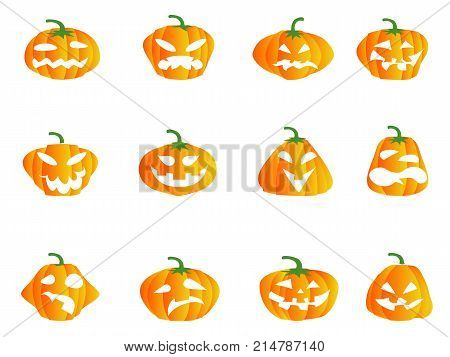 isolated color Halloween pumpkin icons from white background