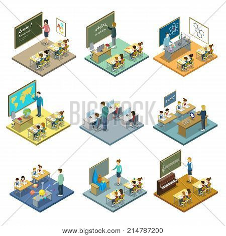 School education isometric 3D set. Pupils sitting at tables in classroom and studying maths, chemistry, geography, music, physics, drawing, astronomy and informatics vector illustration.