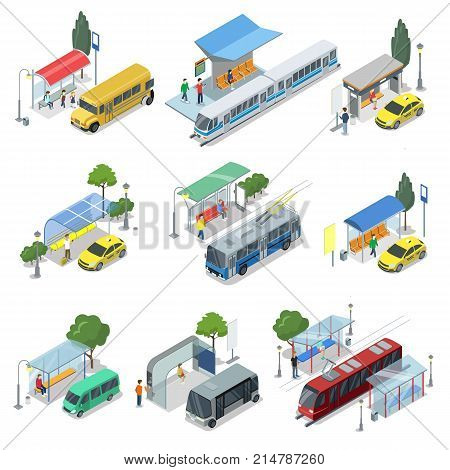 City public transport isometric 3D set. Modern town waiting stations of bus, taxi car, tramway and train. Urban and countryside traffic concepts with transport stops and vehicles vector illustration.