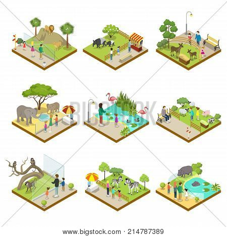 Public zoo with wild animals landscapes isometric 3D set. Lion, monkey, hippopotamus, zebra, tapir, deer, flamingo, elephant, sheep in cages. Zoo infrastructure elements for design vector illustration