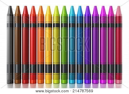 Color crayons isolated on white background. 3D illustration.