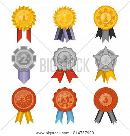 Golden, silver and bronze medals with ribbons collection isolated on white background. First, second and third place award vector labels, victory prize stickers, winner trophy, champion medallions.