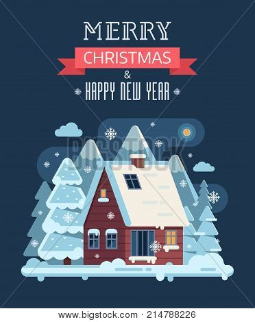 New Year and Christmas card with night forest scene and mountain winter house with smoking chimney. Wintertime countryside background with rural snow cottage or chalet and congratulation Xmas text.