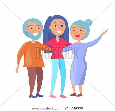 Happy mature family wife and husband and their grown up daughter or granddaughter vector illustration isolated on white. Family members cartoon characters
