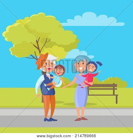 Mature couple holding children on hand, grandpa in hat and grandma with kids on background of bench and green tree in city park vector illustration