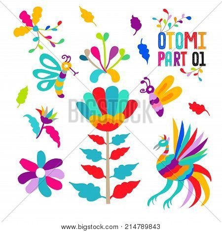 Vector folk Mexican Otomi Style embroidery Pattern set. Folk embroidery ornament elements. eps 10