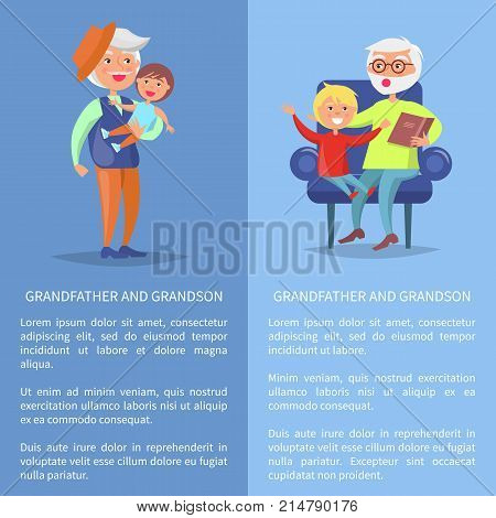 Grandfather and grandson set of posters with senior man reading book to grandson sitting together in armchair and mature dad holds boy on hands vector