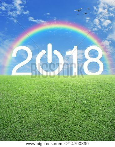 2018 start up business icon with green grass field over rainbow birds and blue sky Happy new year concept