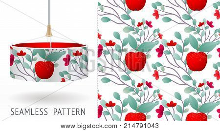 A set of summer seamless unique abstract fruit and flowers patterns demonstrated on textile lampshades. Can be used for embroidery print or silkscreen on fabric. eps10