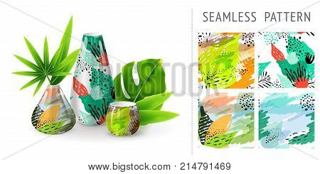 A set of summer seamless unique floral patterns demonstrated on ceramic vase. Can be used for embroidery print or silkscreen on fabric.