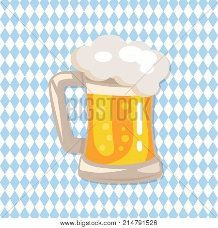 Traditional glass of beer with white foam and bubbles vector on checkered abstract background. Light alchoholic beverage in transparent mug with handle