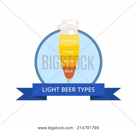 Light beer types logo american and dunkel, pilsner and bock with foam of different color vector illustration isolated on white in circle with blue ribbon.