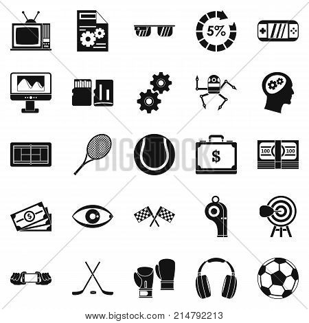 Video transmission icons set. Simple set of 25 video transmission vector icons for web isolated on white background